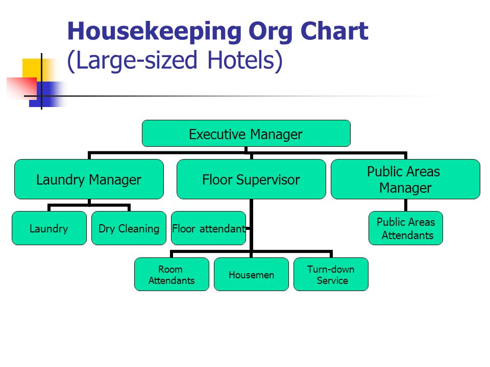After you learn it you are able to tell the organization structure 4 housekeeping org chart large sized hotels executive manager laundry manager laundry dry cleaning floor supervisor room attendants housemen turn down thecheapjerseys Gallery