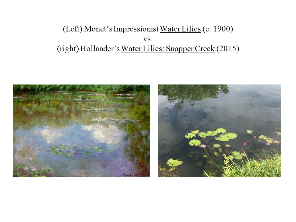 (Left) Monet's Impressionist Water Lilies (c. 1900) vs.