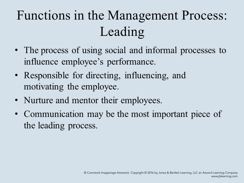 Functions in the Management Process: Leading The process of using social and informal processes to influence employee's performance.