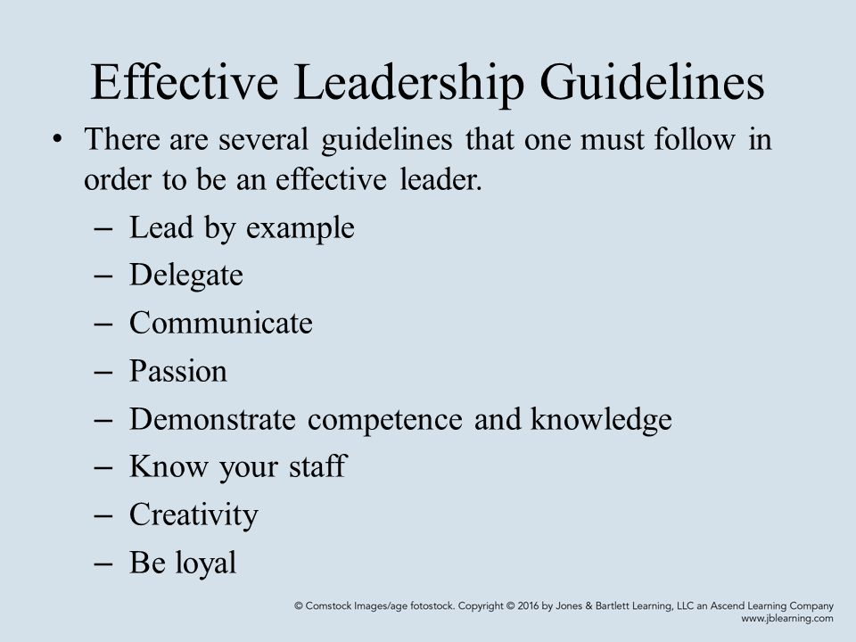 Effective Leadership Guidelines There are several guidelines that one must follow in order to be an effective leader.