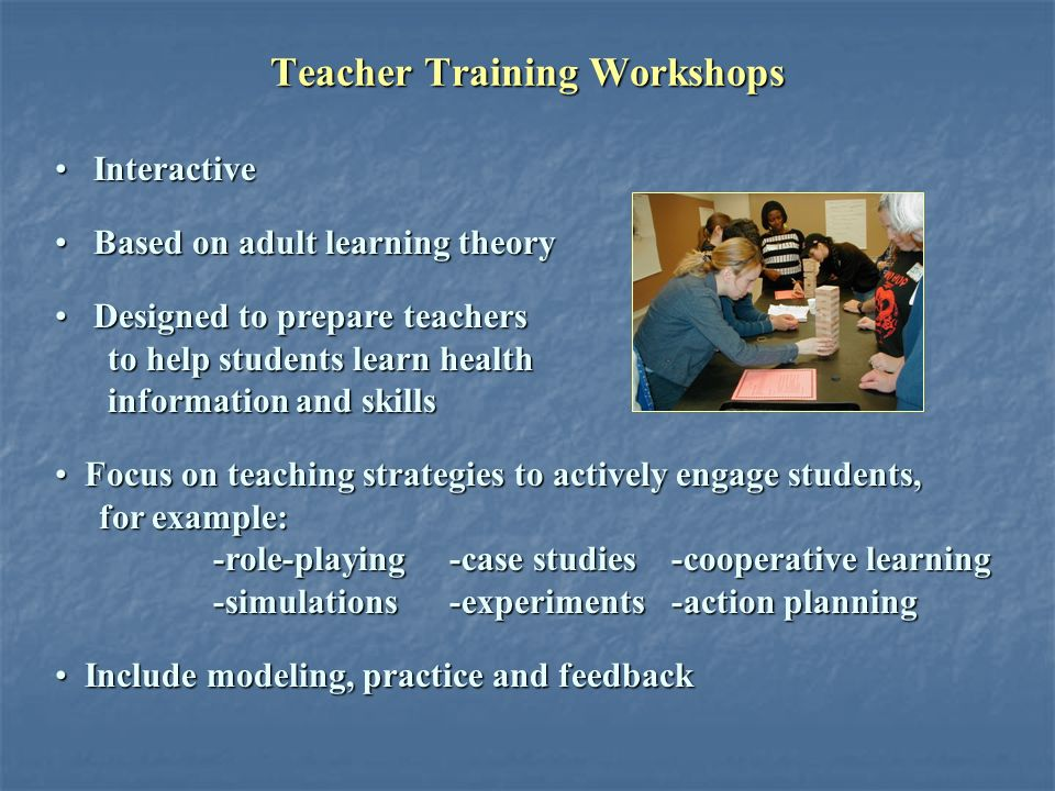 Teacher Training Workshops Interactive Interactive Based on adult learning theory Based on adult learning theory Designed to prepare teachers Designed to prepare teachers to help students learn health to help students learn health information and skills information and skills Focus on teaching strategies to actively engage students, Focus on teaching strategies to actively engage students, for example: for example: -role-playing -case studies -cooperative learning -role-playing -case studies -cooperative learning -simulations -experiments -action planning -simulations -experiments -action planning Include modeling, practice and feedback Include modeling, practice and feedback