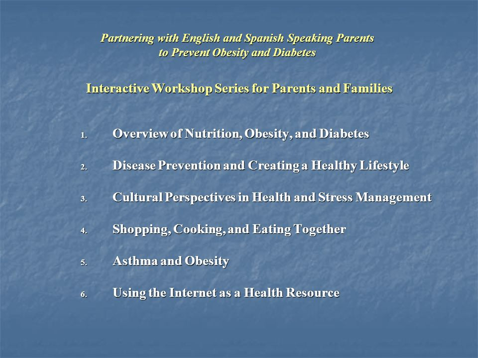 Interactive Workshop Series for Parents and Families 1.