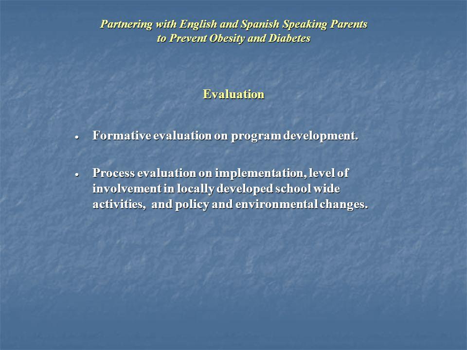 Evaluation  Formative evaluation on program development.