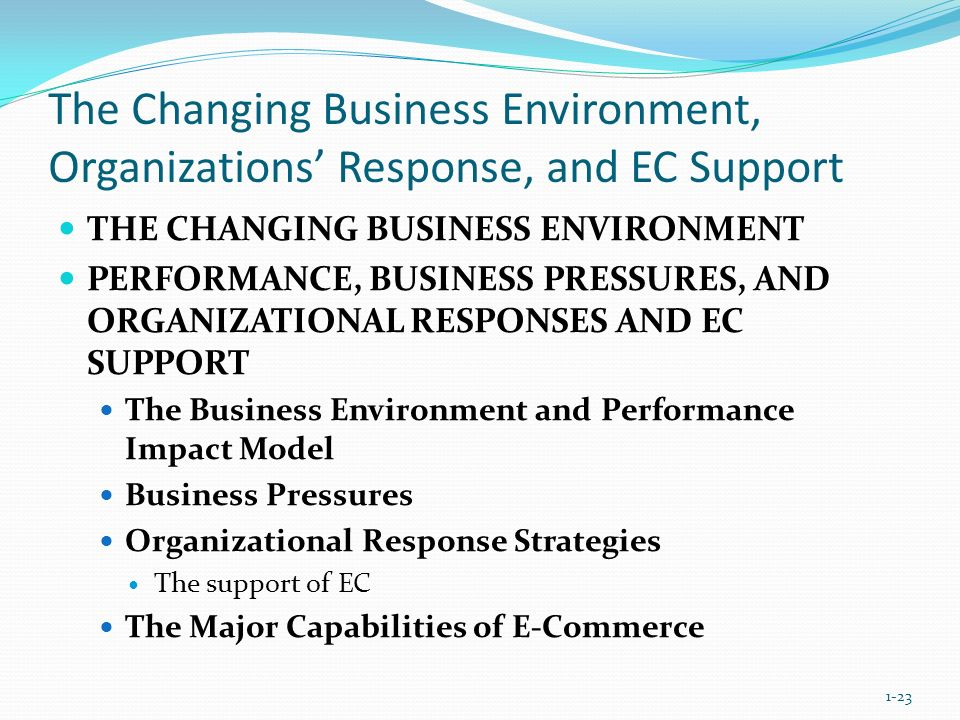 The Changing Business Environment, Organizations' Response, and EC Support THE CHANGING BUSINESS ENVIRONMENT PERFORMANCE, BUSINESS PRESSURES, AND ORGA