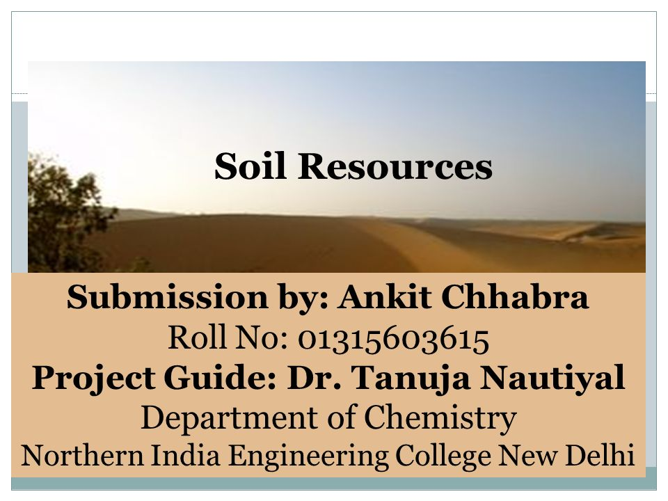 Soil Resources Submission by: Ankit Chhabra Roll No: Project Guide: Dr.