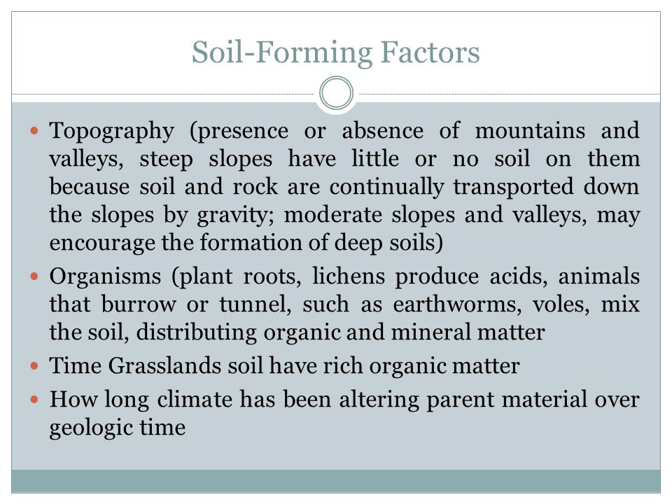 Soil-Forming Factors Topography (presence or absence of mountains and valleys, steep slopes have little or no soil on them because soil and rock are continually transported down the slopes by gravity; moderate slopes and valleys, may encourage the formation of deep soils) Organisms (plant roots, lichens produce acids, animals that burrow or tunnel, such as earthworms, voles, mix the soil, distributing organic and mineral matter Time Grasslands soil have rich organic matter How long climate has been altering parent material over geologic time