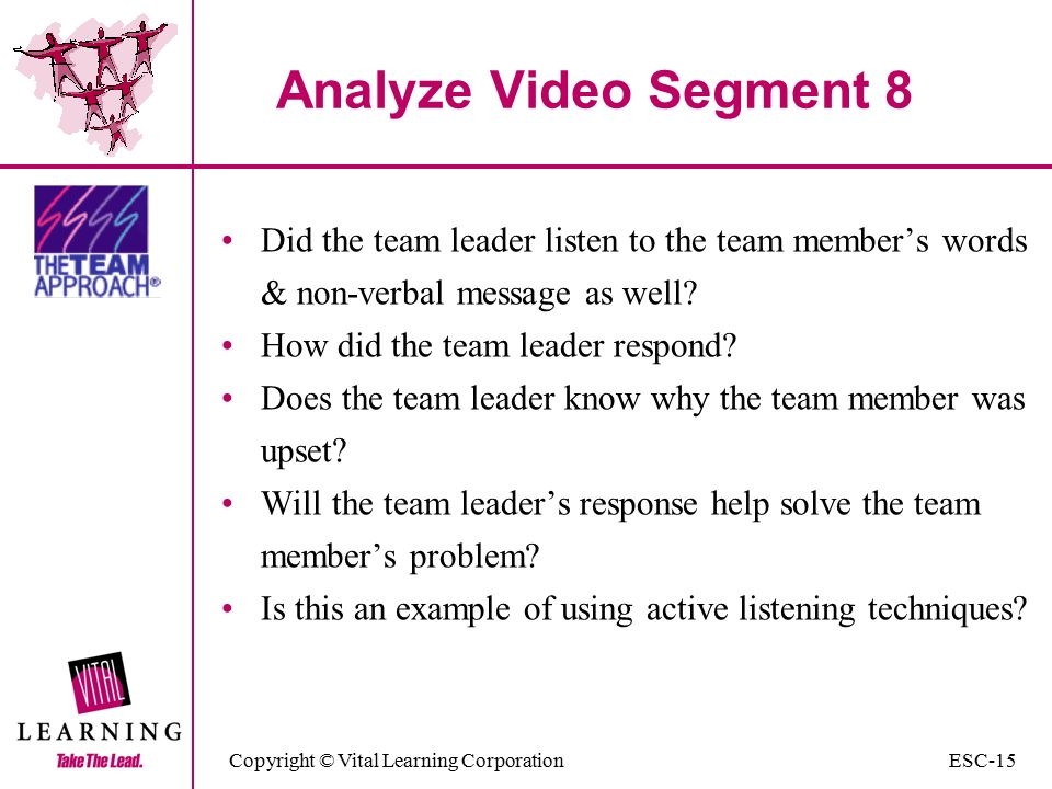 Copyright © Vital Learning Corporation Analyze Video Segment 8 Did the team leader listen to the team member's words & non-verbal message as well.