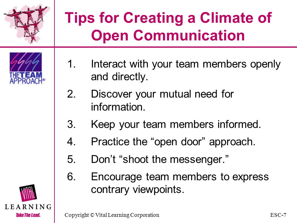 Copyright © Vital Learning Corporation Tips for Creating a Climate of Open Communication 1.Interact with your team members openly and directly.