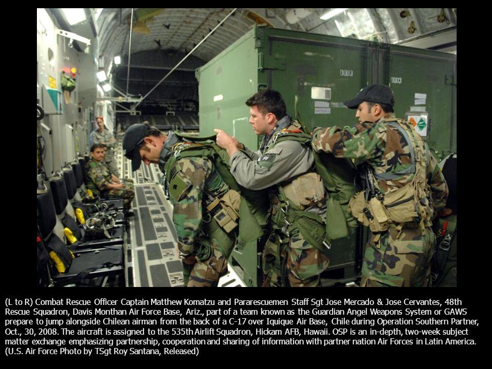 L To R Combat Rescue Officer Captain Matthew Komatzu And Pararescuemen Staff Sgt Jose