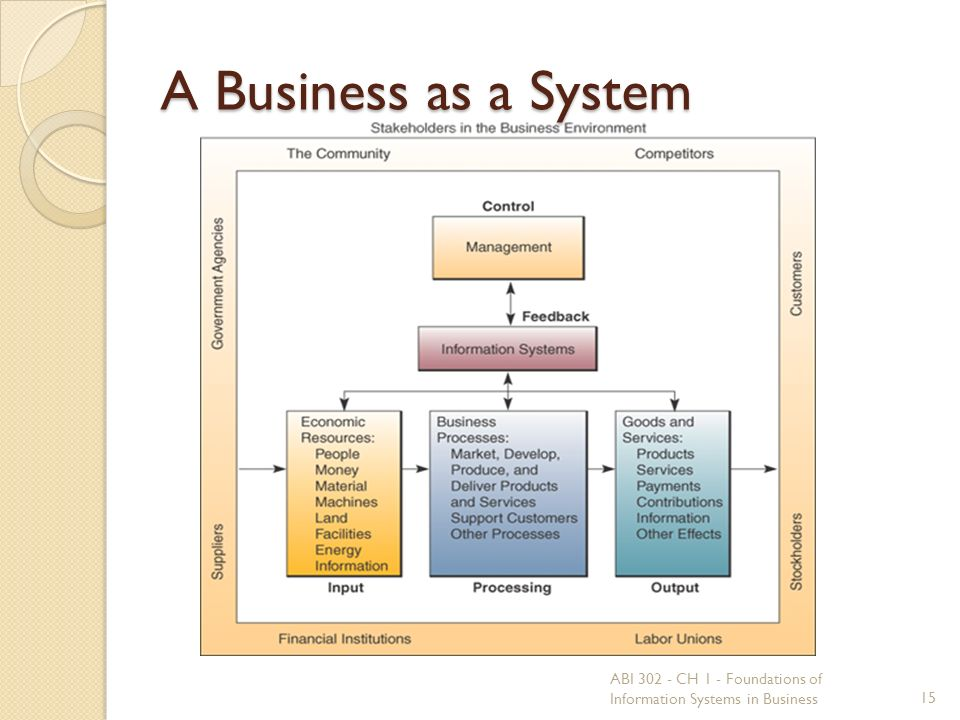 A Business as a System 15 ABI 302 - CH 1 - Foundations of Information Systems in Business