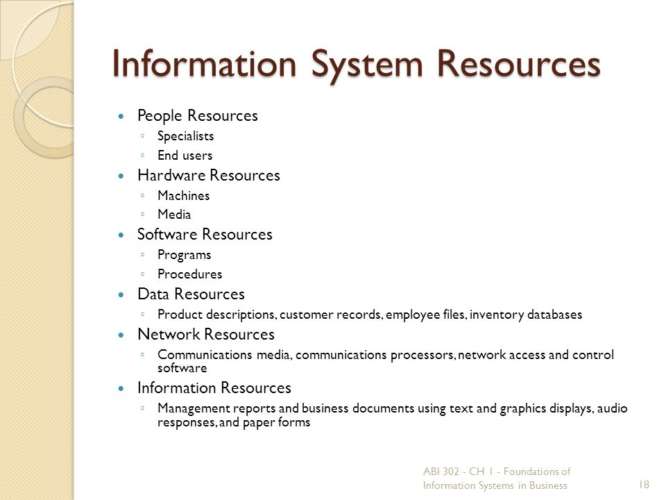 Information System Resources People Resources ◦ Specialists ◦ End users Hardware Resources ◦ Machines ◦ Media Software Resources ◦ Programs ◦ Procedures Data Resources ◦ Product descriptions, customer records, employee files, inventory databases Network Resources ◦ Communications media, communications processors, network access and control software Information Resources ◦ Management reports and business documents using text and graphics displays, audio responses, and paper forms 18 ABI 302 - CH 1 - Foundations of Information Systems in Business