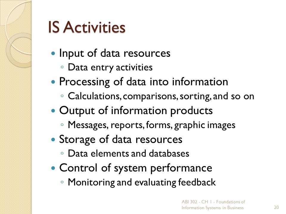 IS Activities Input of data resources ◦ Data entry activities Processing of data into information ◦ Calculations, comparisons, sorting, and so on Output of information products ◦ Messages, reports, forms, graphic images Storage of data resources ◦ Data elements and databases Control of system performance ◦ Monitoring and evaluating feedback 20 ABI 302 - CH 1 - Foundations of Information Systems in Business