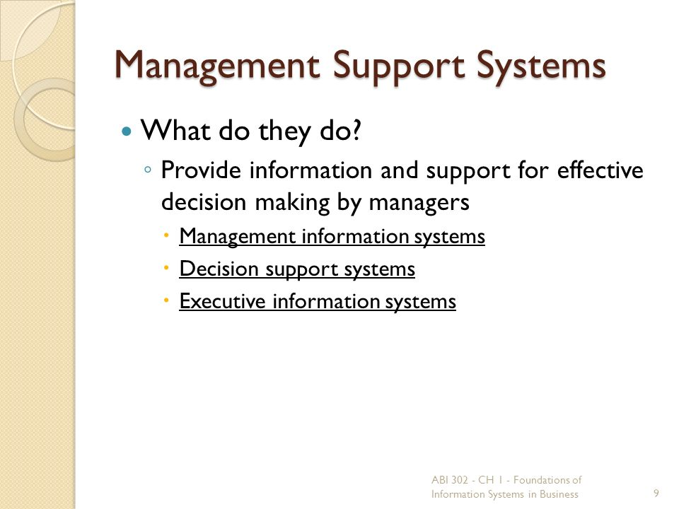 Management Support Systems What do they do.