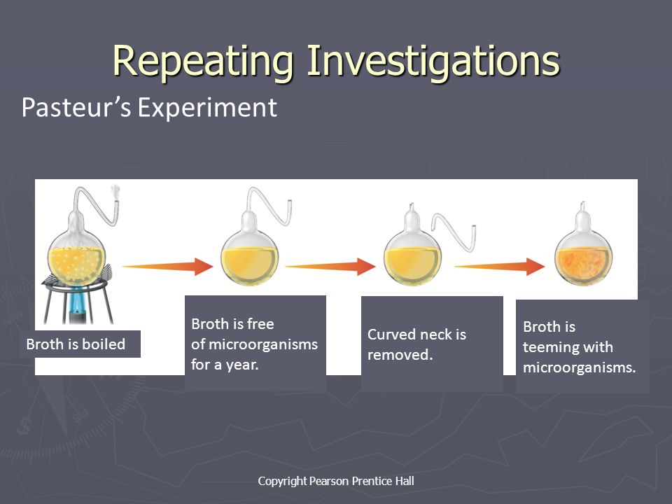 Copyright Pearson Prentice Hall Repeating Investigations Pasteur's Experiment Broth is boiled Broth is free of microorganisms for a year.