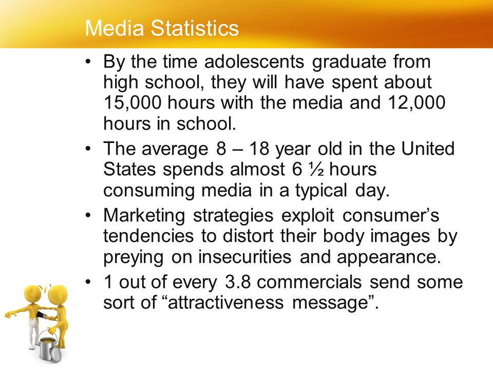 Media Statistics By the time adolescents graduate from high school, they will have spent about 15,000 hours with the media and 12,000 hours in school.