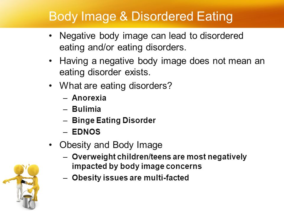 Body Image & Disordered Eating Negative body image can lead to disordered eating and/or eating disorders.