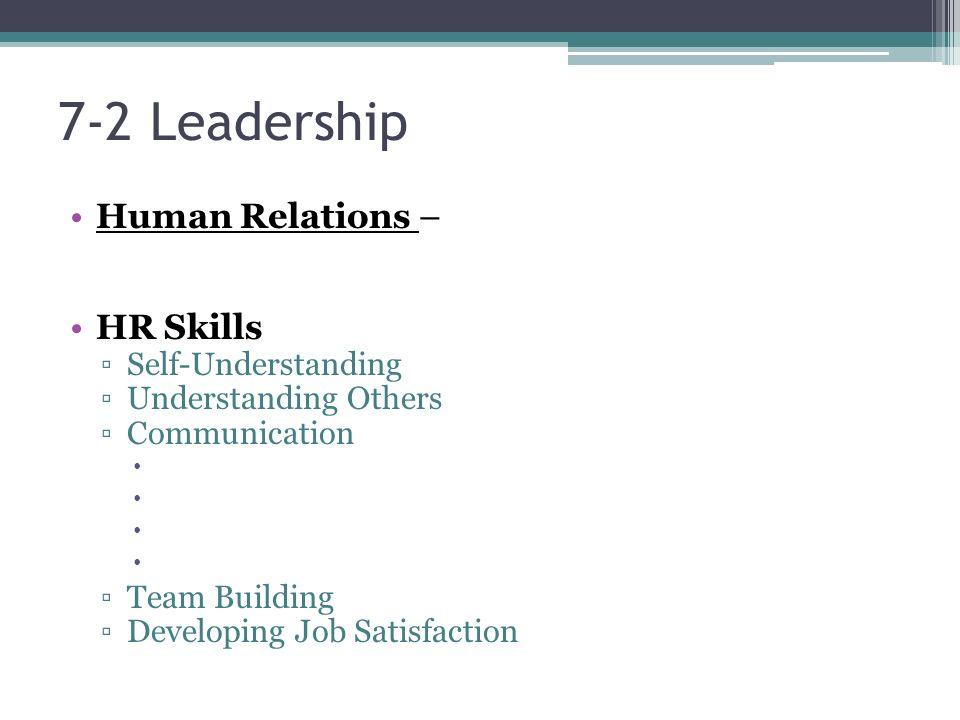 7-2 Leadership Human Relations – HR Skills ▫Self-Understanding ▫Understanding Others ▫Communication  ▫Team Building ▫Developing Job Satisfaction