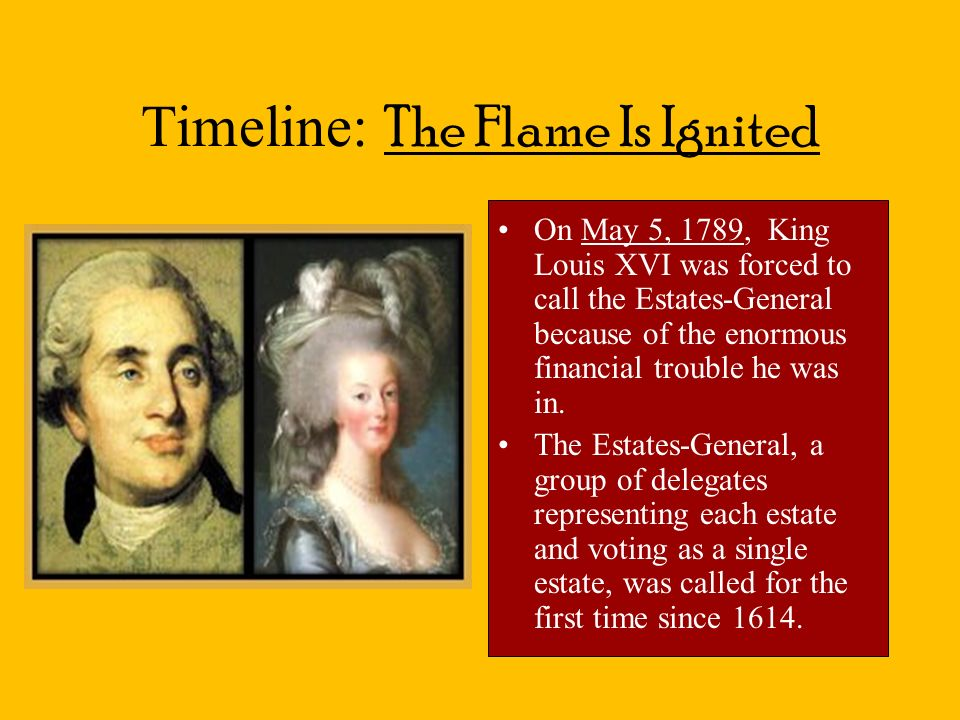 Timeline: The Flame Is Ignited On May 5, 1789, King Louis XVI was forced to call the Estates-General because of the enormous financial trouble he was in.