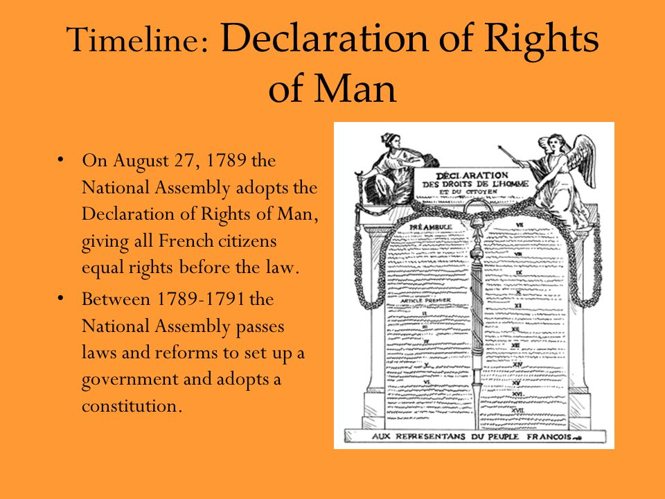 Timeline: Declaration of Rights of Man On August 27, 1789 the National Assembly adopts the Declaration of Rights of Man, giving all French citizens equal rights before the law.
