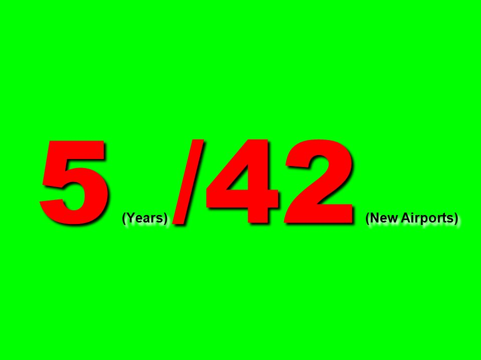 5 (Years) /42 (New Airports)