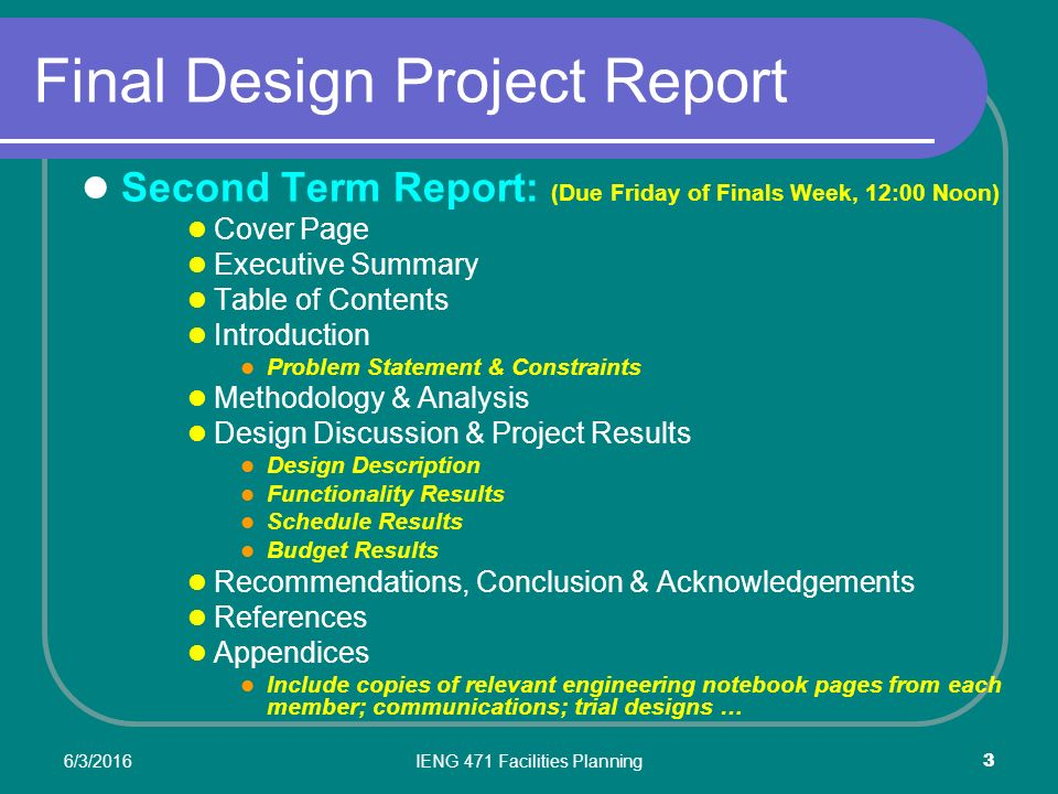 final project report Final project report to: pat gamble president through: kit duke avp facilities and land management through: (insert name.