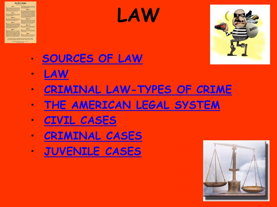 LAW SOURCES OF LAW LAW CRIMINAL LAW-TYPES OF CRIME THE AMERICAN LEGAL SYSTEM CIVIL CASES CRIMINAL CASES JUVENILE CASES