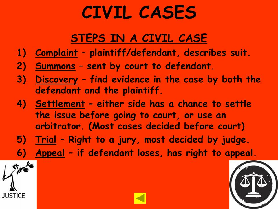 CIVIL CASES STEPS IN A CIVIL CASE 1)Complaint – plaintiff/defendant, describes suit.