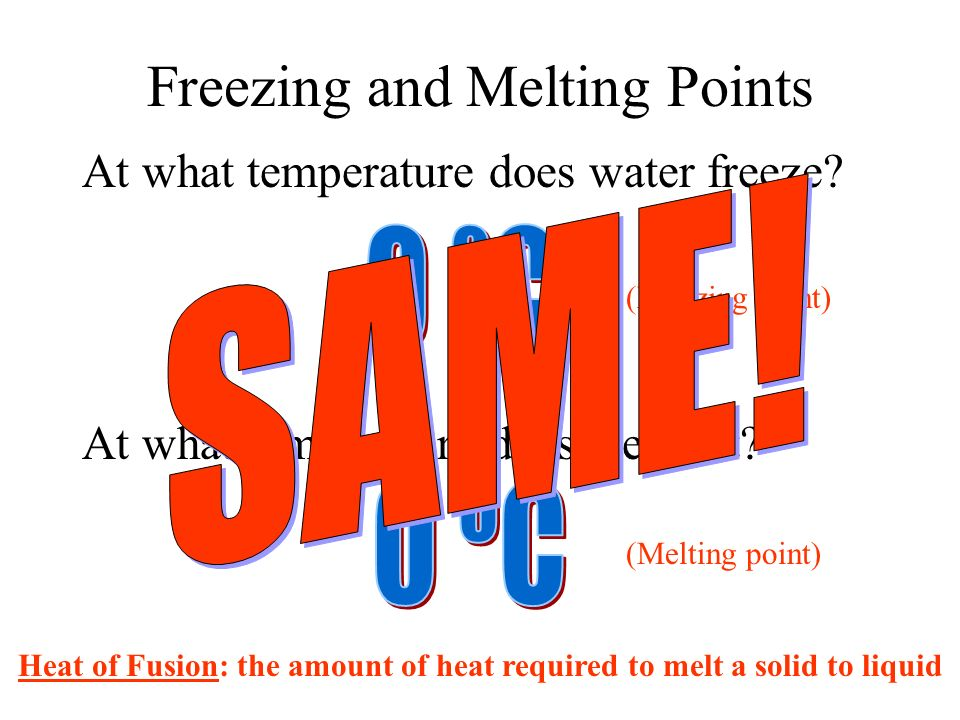 Freezing and Melting Points At what temperature does water freeze.