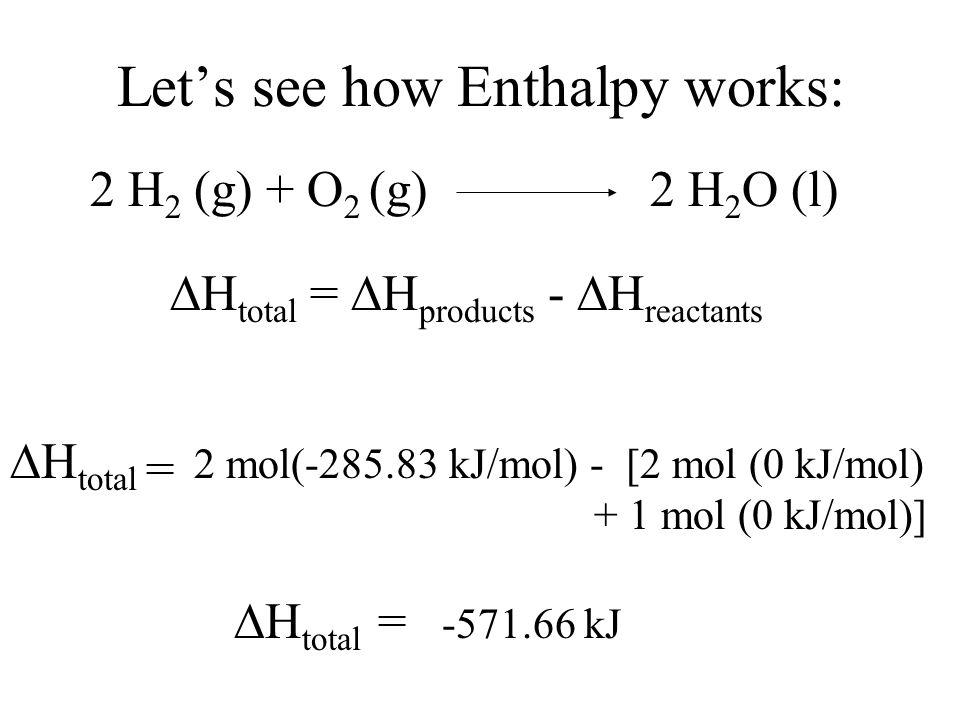 Let's see how Enthalpy works: 2 H 2 (g) + O 2 (g)2 H 2 O (l)  H total =  H products -  H reactants  H total = 2 mol(-285.83 kJ/mol) -  H total = -571.66 kJ [2 mol (0 kJ/mol) + 1 mol (0 kJ/mol)]