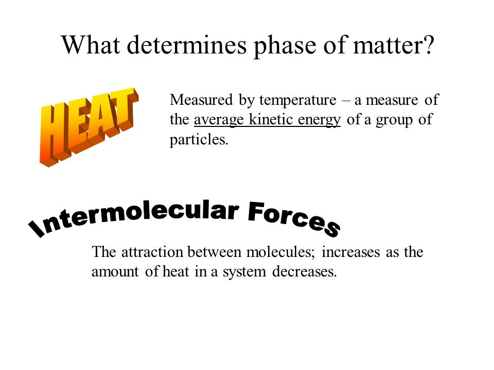 What determines phase of matter.