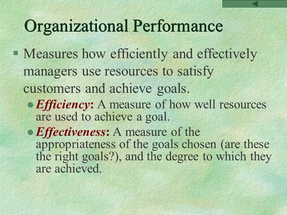 Organizational Performance §Measures how efficiently and effectively managers use resources to satisfy customers and achieve goals.
