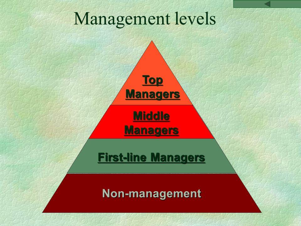 Top Managers Top Managers Middle Managers Middle Managers First-line Managers First-line ManagersNon-management Management levels