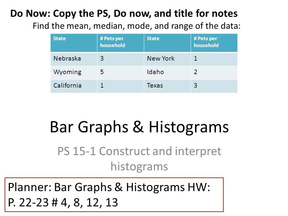 Bar graphs histograms ps 15 1 construct and interpret histograms bar graphs histograms ps 15 1 construct and interpret histograms do now copy ccuart Gallery