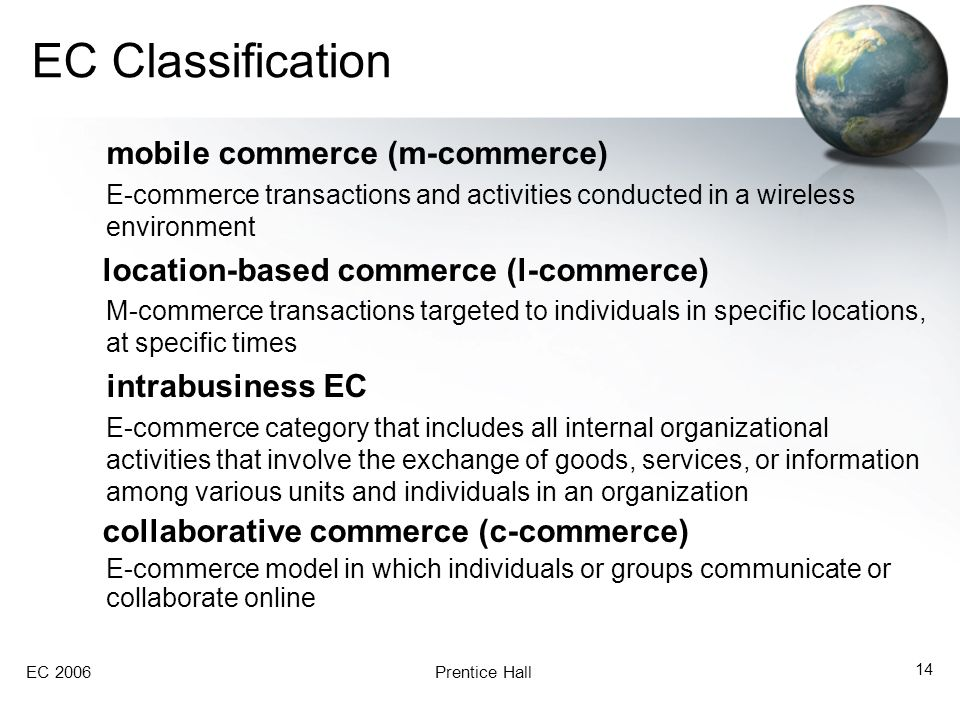 EC 2006Prentice Hall 14 EC Classification mobile commerce (m-commerce) E-commerce transactions and activities conducted in a wireless environment location-based commerce (l-commerce) M-commerce transactions targeted to individuals in specific locations, at specific times intrabusiness EC E-commerce category that includes all internal organizational activities that involve the exchange of goods, services, or information among various units and individuals in an organization collaborative commerce (c-commerce) E-commerce model in which individuals or groups communicate or collaborate online