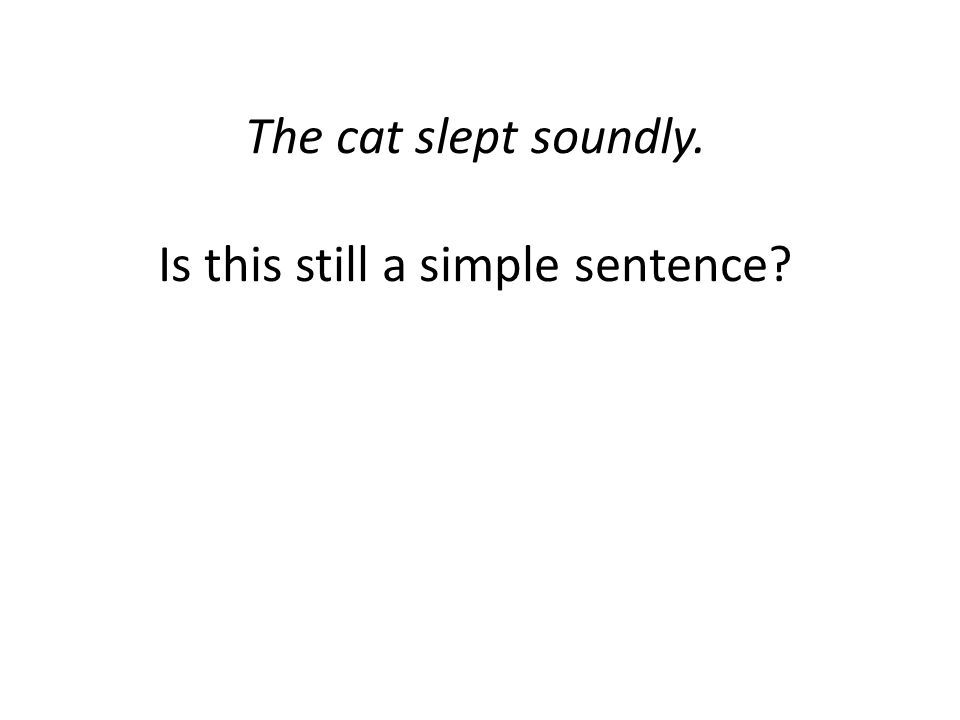 The cat slept soundly. Is this still a simple sentence
