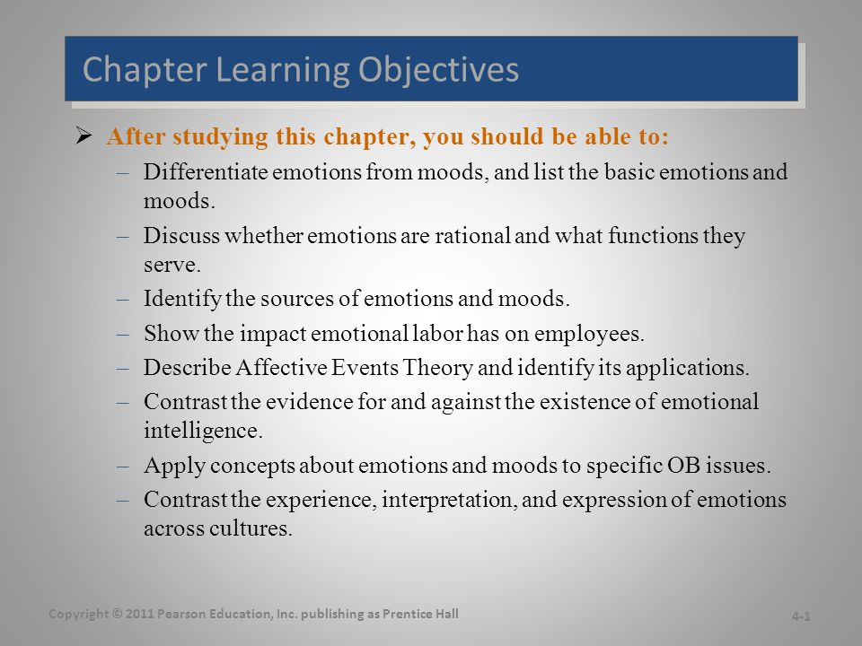 Chapter Learning Objectives  After studying this chapter, you should be able to: –Differentiate emotions from moods, and list the basic emotions and moods.