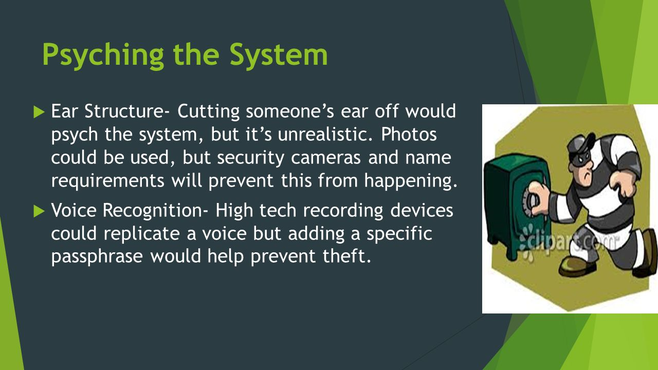 Psyching the System  Ear Structure- Cutting someone's ear off would psych the system, but it's unrealistic.
