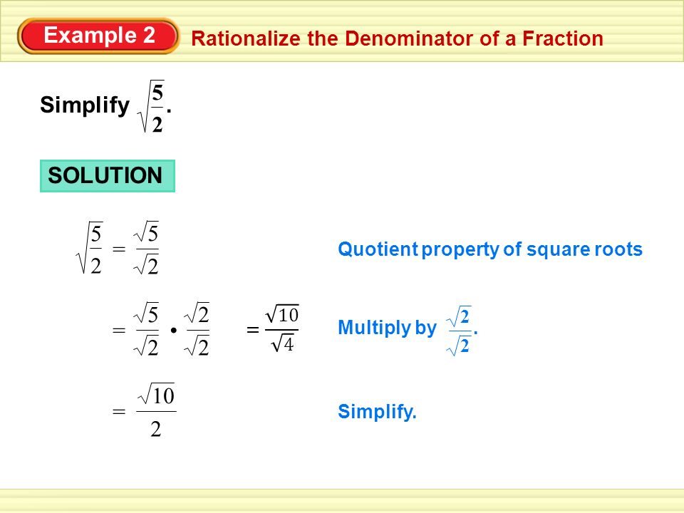 Example 2 Rationalize the Denominator of a Fraction Simplify.