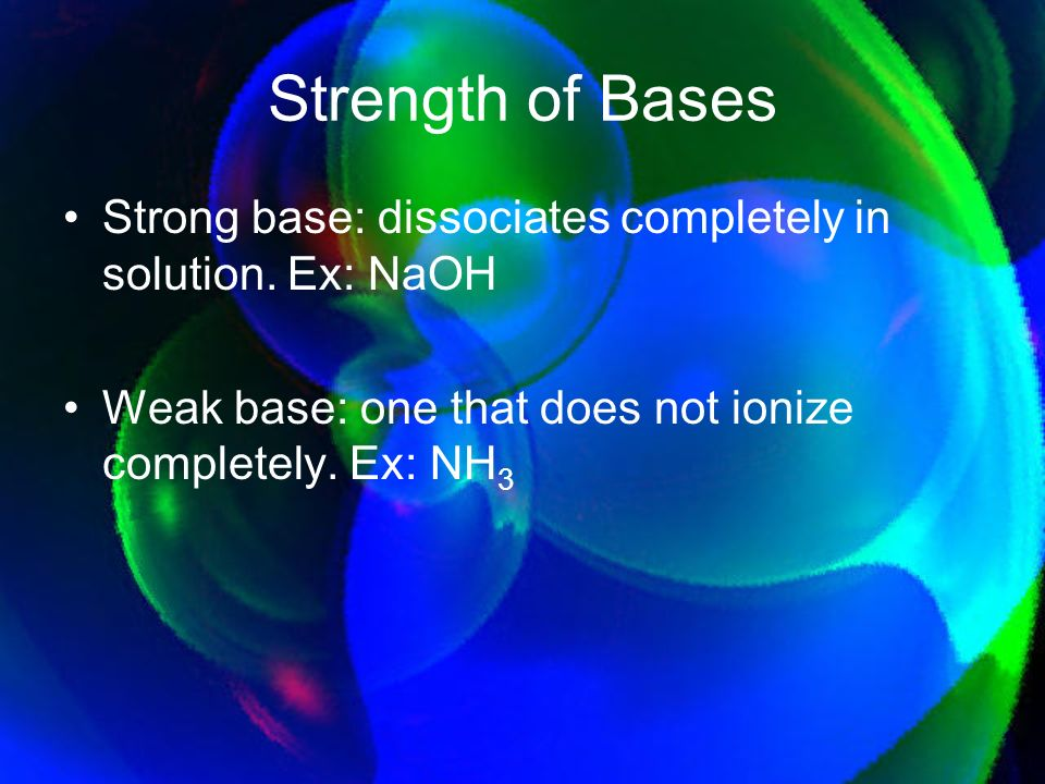 Strength of Bases Strong base: dissociates completely in solution.
