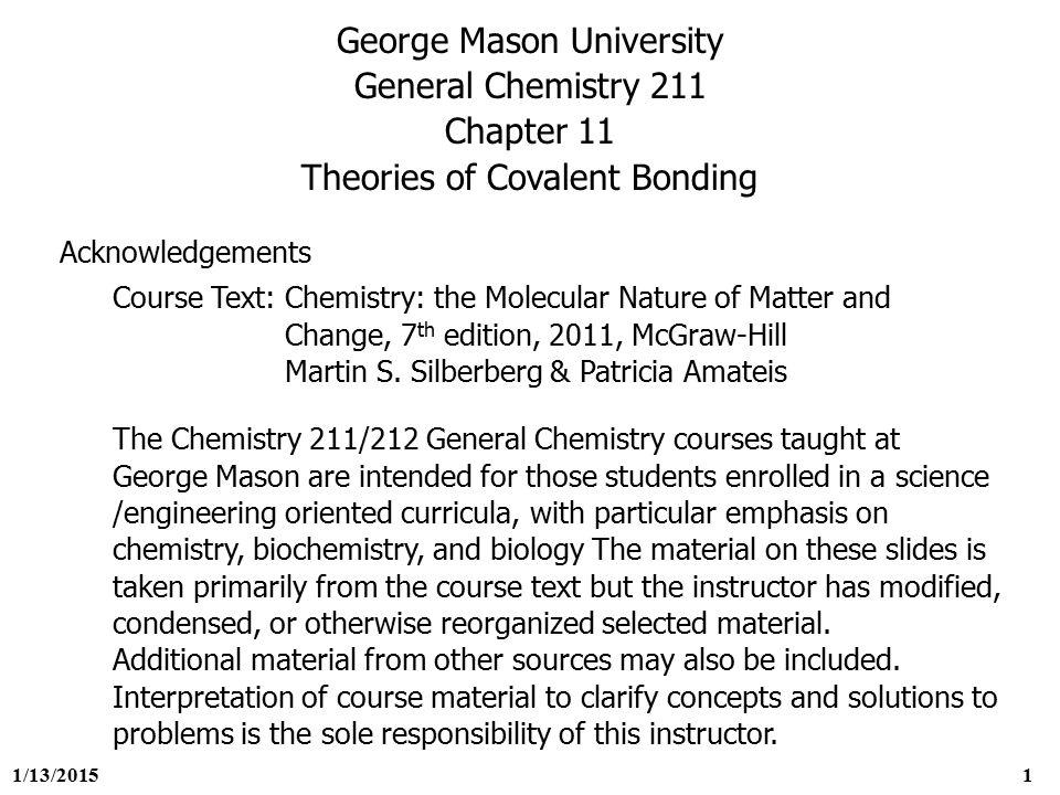 Chemistry 211 homework gmu