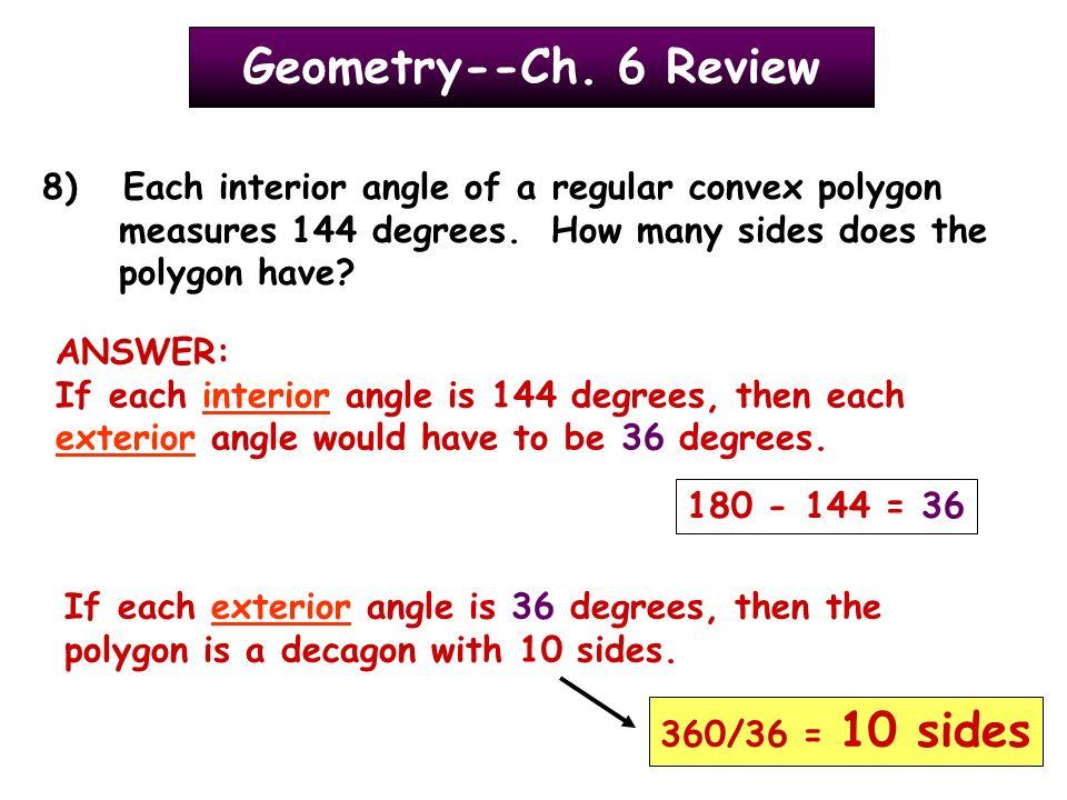 GeometryCh 6 Review Classify each polygon as regularirregular
