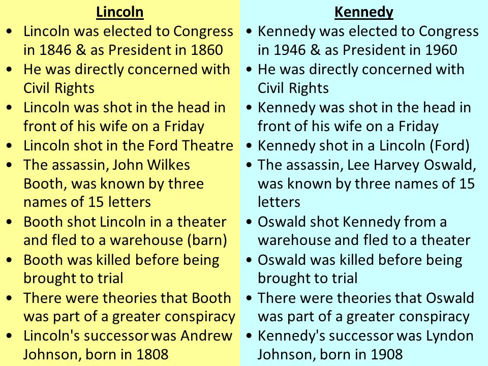 Lincoln Lincoln was elected to Congress in 1846 & as President in 1860 He was directly concerned with Civil Rights Lincoln was shot in the head in front of his wife on a Friday Lincoln shot in the Ford Theatre The assassin, John Wilkes Booth, was known by three names of 15 letters Booth shot Lincoln in a theater and fled to a warehouse (barn) Booth was killed before being brought to trial There were theories that Booth was part of a greater conspiracy Lincoln s successor was Andrew Johnson, born in 1808 Kennedy Kennedy was elected to Congress in 1946 & as President in 1960 He was directly concerned with Civil Rights Kennedy was shot in the head in front of his wife on a Friday Kennedy shot in a Lincoln (Ford) The assassin, Lee Harvey Oswald, was known by three names of 15 letters Oswald shot Kennedy from a warehouse and fled to a theater Oswald was killed before being brought to trial There were theories that Oswald was part of a greater conspiracy Kennedy s successor was Lyndon Johnson, born in 1908