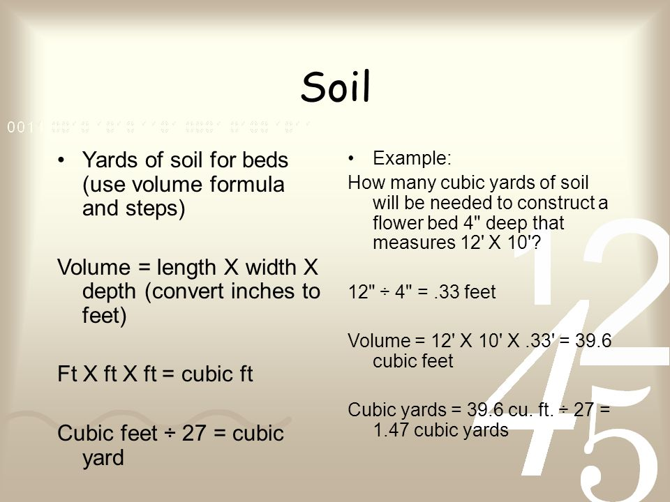 How to calculate landscape estimates and quotes 201 apply soil yards of soil for beds use volume formula and steps volume length ccuart Gallery