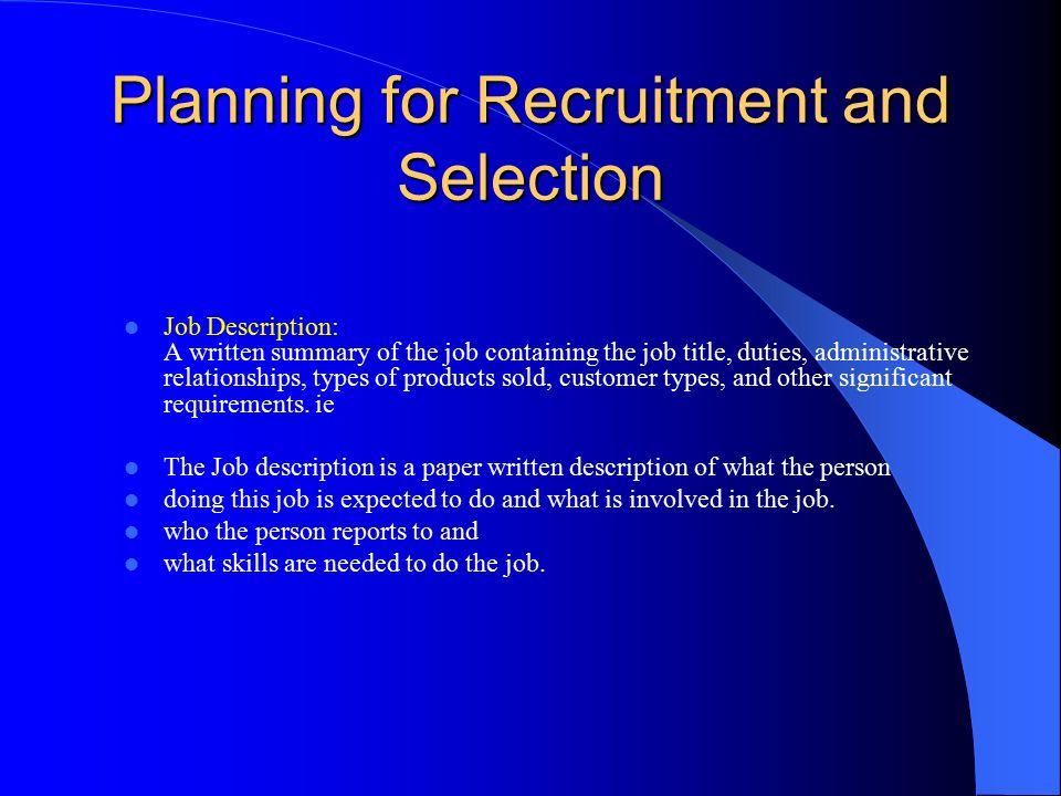 relationship between selection recruitment and job analysis