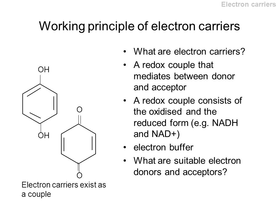 Electron Flow in Biological proceses This topic is covered largely ...
