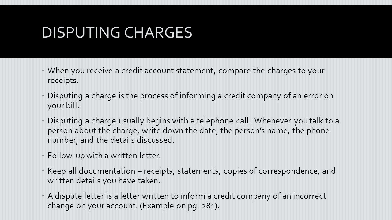 disputing charges