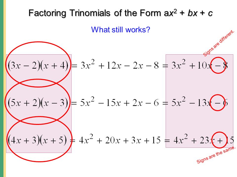 Factoring Trinomials of the Form ax 2 + bx + c, where a  Factor ...