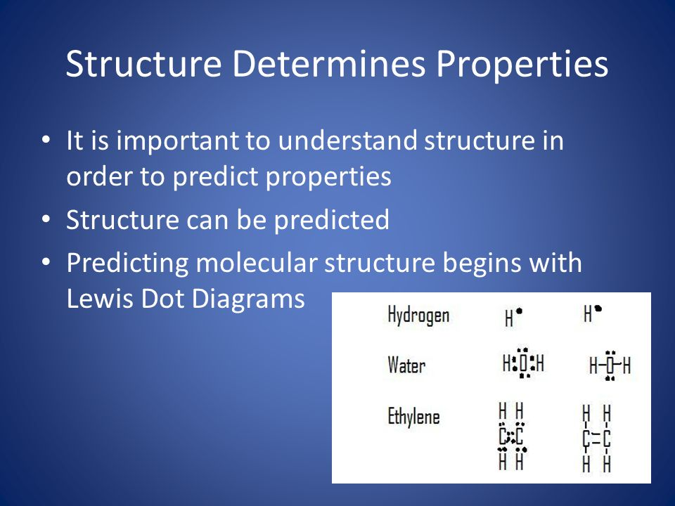 Structure Determines Properties It is important to understand structure in order to predict properties Structure can be predicted Predicting molecular structure begins with Lewis Dot Diagrams