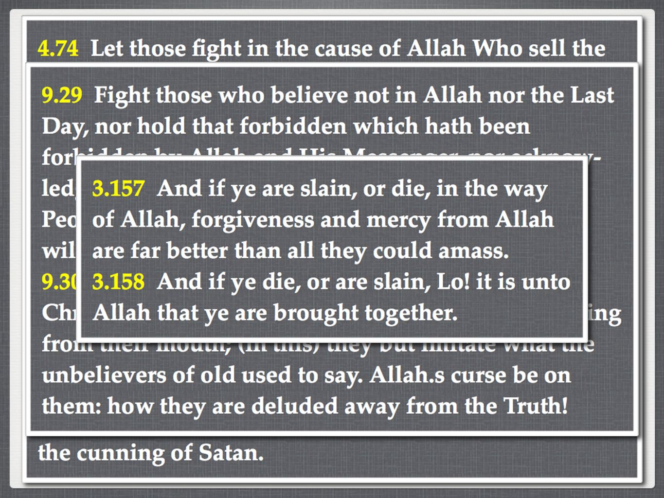 The Rise Of Militant Islam Muhammad not only endorsed the sword, he also used one The Qur'an contains 64 specific calls to fight against the Jew and the Christian Not all Muslims believe in the use of deadly force