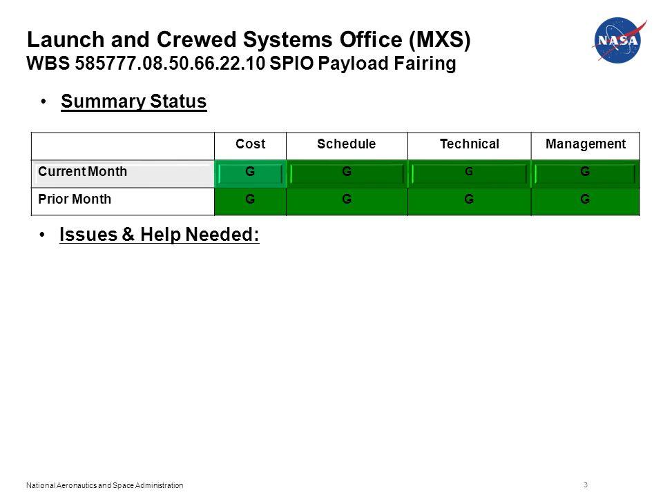 ... 585777.08.50.66.22.10 SPIO Payload Fairing 3  CostScheduleTechnicalManagement Current MonthGG G G Prior MonthGGGG Summary  Status Issues U0026 Help Needed: